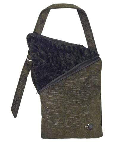 Naples Messenger Bag - Cohen in Olive Upholstery with Cuddly Faux Fur in Black