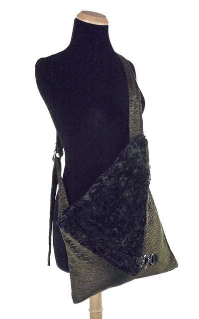 Pandemonium Millinery Naples Messenger Bag - Cohen in Olive Upholstery with Cuddly Faux Fur in Black Handbag