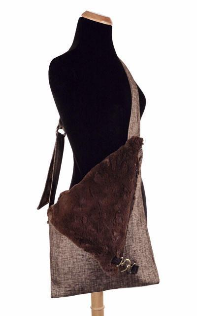 Naples Messenger Bag - Liam in Brown Upholstery with Cuddly Faux Fur in Chocolate