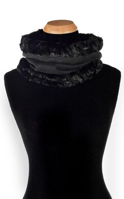 Neck Cowl - Faux Soft Suede Black with Assorted Faux Fur Soft Faux Suede Black / asst. Scarves Pandemonium Millinery