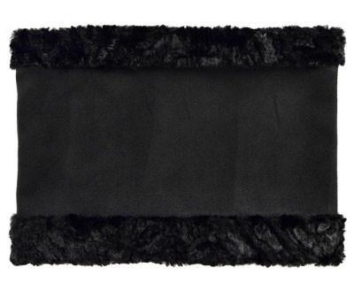 Neck Cowl - Faux Soft Suede Black with Assorted Faux Fur