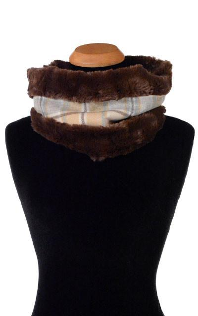 Neck Cowl - Wool Plaid in Daybreak with Cuddly Faux Fur