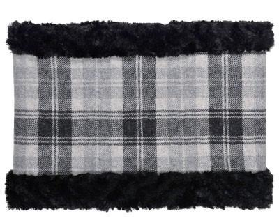 Neck Cowl - Wool Plaid in Twilight with Cuddly Faux Fur in Black