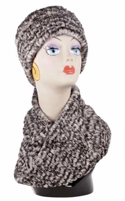 Neck Warmer -  Cobblestone in Brown/Cream Faux Fur (Limited Availability)