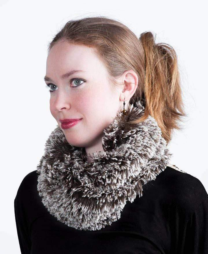 Pandemonium Millinery Neck Warmer - Fox Faux Fur Silver Tipped Fox Brown Scarves