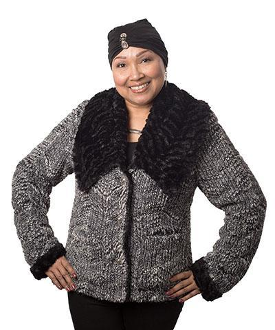 Norma Jean Coat, Reversible - Cozy Cable in Ash Faux Fur with Assorted Cuddly Fur X-Small / Cozy Cable / Black Outerwear Pandemonium Millinery