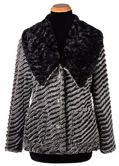 Norma Jean Coat, Reversible - Desert Sand Faux Fur in Charcoal with Cuddly Fur in Black (Only One Small and One Large Left!)
