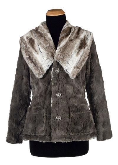 Norma Jean Coat, Reversible - Luxury Faux Fur in Birch with Cuddly Fur (Gray Lined - Two Small Left)