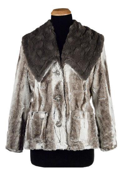 Norma Jean Coat, Reversible - Luxury Faux Fur in Birch with Cuddly Fur X-Small / Birch / Ivory Outerwear Pandemonium Millinery
