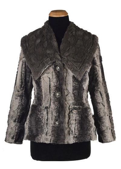 Norma Jean Coat, Reversible - Luxury Faux Fur in Meerkat with Cuddly Fur in Gray (One Small Left!)
