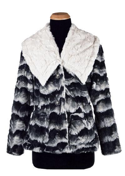 Norma Jean Coat, Reversible - Luxury Faux Fur in Ocean with Cuddly Fur in Ivory (Only One Small Left!)