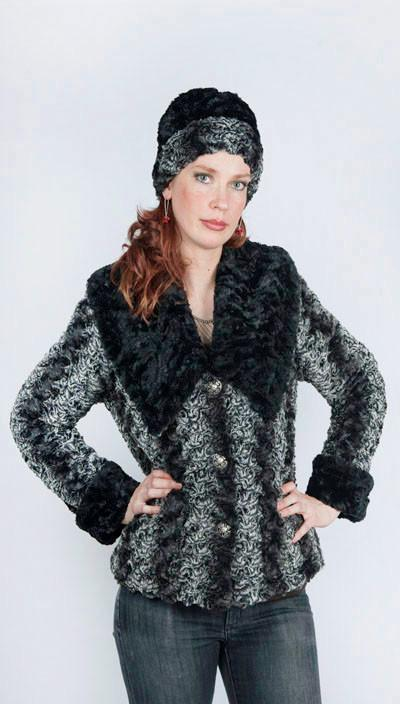 Norma Jean Coat, Reversible - Luxury Faux Fur in Smoky Essence with Cuddly Fur in Black (Only One Small Left!)