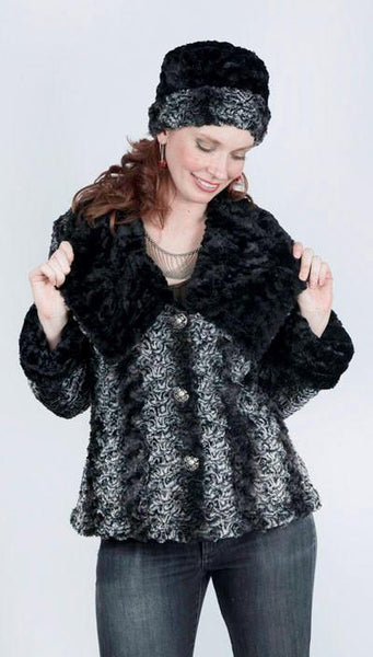 Norma Jean Coat, Reversible - Luxury Faux Fur in Smoky Essence with Cuddly Fur in Black X-Small / Smoky Essence / Black Outerwear Pandemonium Millinery