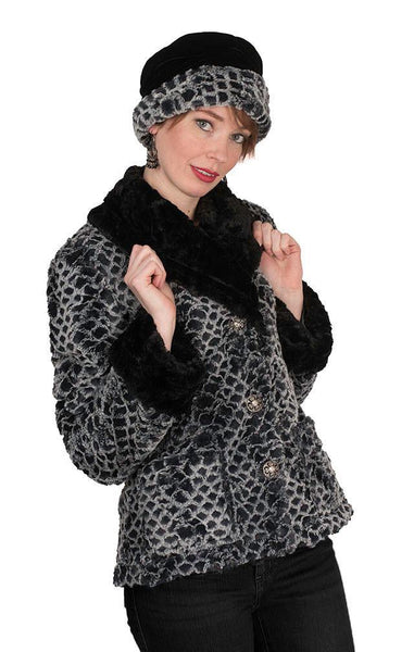 Norma Jean Coat, Reversible - Luxury Faux Fur in Snow Owl with Cuddly Fur in Black X-Small / Snow Owl / Black Outerwear Pandemonium Millinery