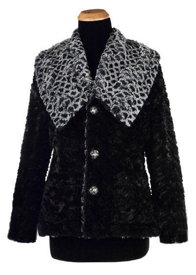 Norma Jean Coat, Reversible - Luxury Faux Fur in Snow Owl with Cuddly Fur in Black (Only One Small Left)