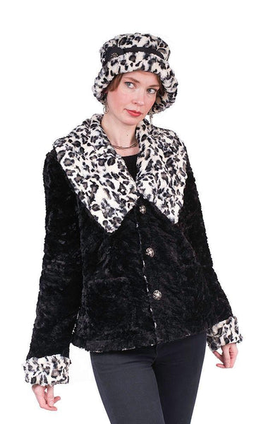 Norma Jean Coat, Reversible - Luxury Faux Fur in White Jaguar with Cuddly Fur in Black X-Small / White Jaguar / Black Outerwear Pandemonium Millinery