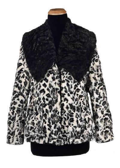 Norma Jean Coat, Reversible - Luxury Faux Fur in White Jaguar with Cuddly Fur in Black (One Small Left!)
