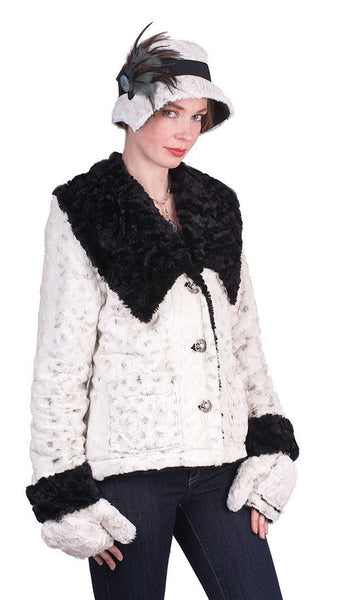 Norma Jean Coat, Reversible - Luxury Faux Fur in Winters Frost with Cuddly Fur in Black X-Small / Winters Frost / Black Outerwear Pandemonium Millinery