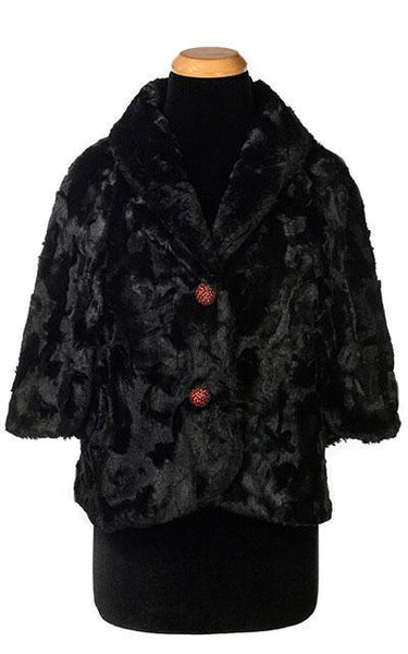 Pandemonium Millinery Opera Cape - Cuddly Faux Fur in Black Outerwear