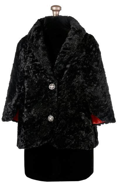 Opera Cape - Cuddly Faux Fur in Black Black / Red / Silver (U) Outerwear Pandemonium Millinery