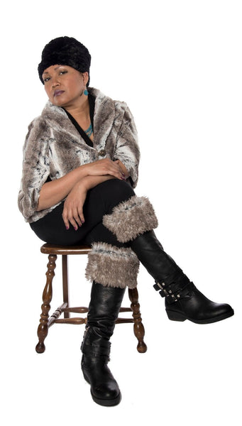 Opera Cape - Luxury Faux Fur in Birch Birch / Black / Silver (U) Outerwear Pandemonium Millinery