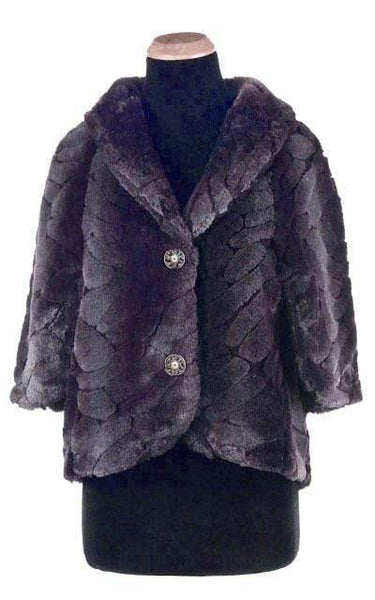 Opera Cape - Luxury Faux Fur in Dream Aubergine Dream / Silver-Tone (U) / Black Outerwear Pandemonium Millinery