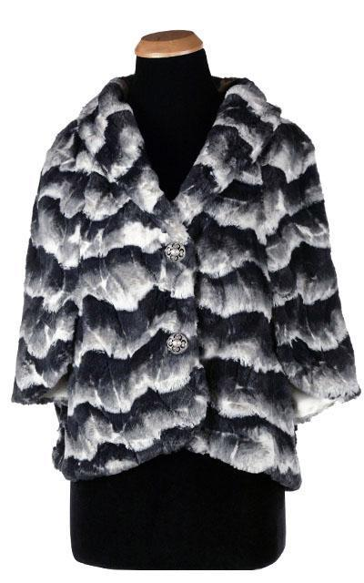 Opera Cape - Luxury Faux Fur in Ocean Mist