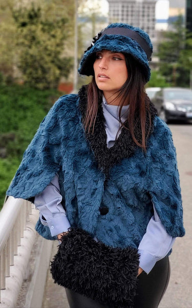 Pandemonium Millinery Opera Cape - Luxury Faux Fur in Peacock Pond Outerwear