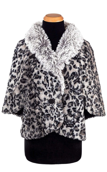 Pandemonium Millinery Opera Cape - Luxury Faux Fur Savannah Cat in Gray Outerwear