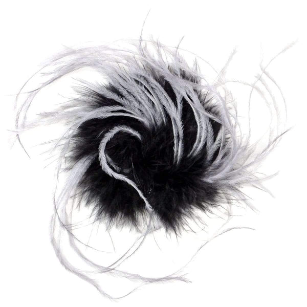 "Pandemonium Millinery Ostrich Feather Brooches - Multi-Colored 8"" / Black/Lt. Gray Ostrich Feather Hat Trims"