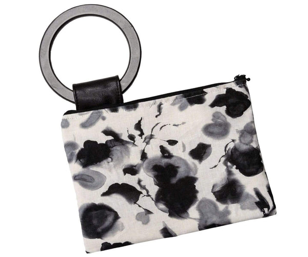 Pandemonium Millinery Paris Clutch - Linen in Black/White Floral Linen in Black/White Floral / Standard (Large) Handbag
