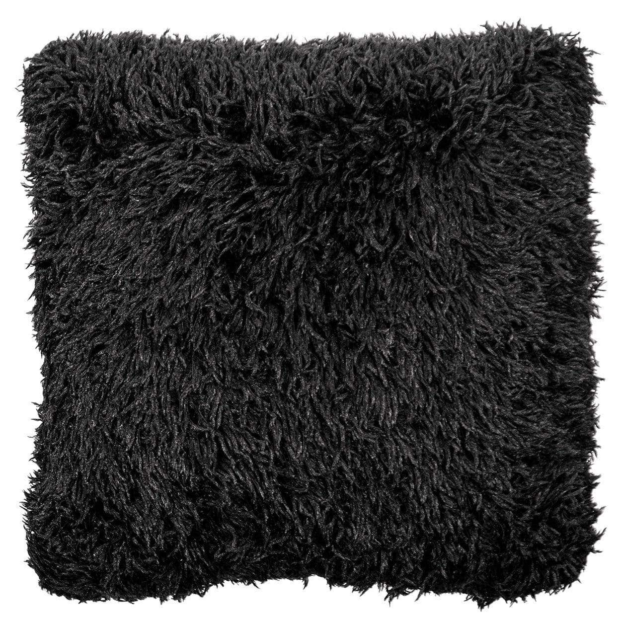 "Pandemonium Millinery Pillow Sham - Black Swan Faux Fur 16"" Square / Add Pillow Form / Black Swan Home decor"