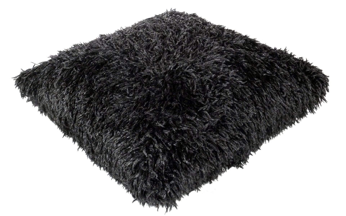 "Pandemonium Millinery Pillow Sham - Black Swan Faux Fur 16"" Square / With Out Pillow Form / Black Swan Home decor"
