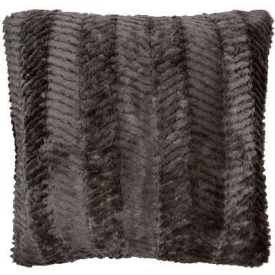 Pillow Sham - Chevron Faux Fur in Gray