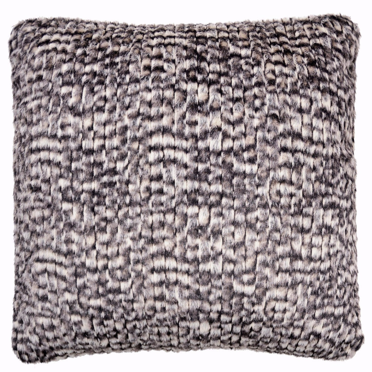 Pillow Sham - Cobblestone in Brown/Cream Faux Fur