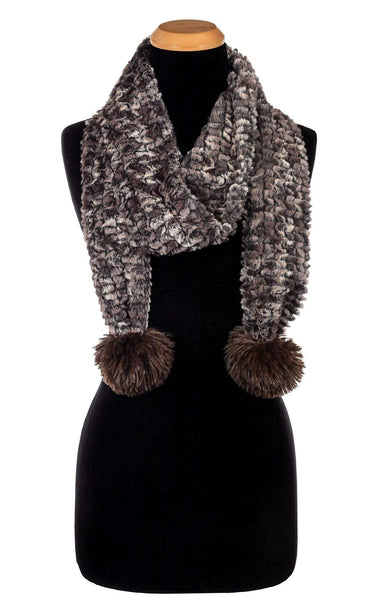 Pandemonium Millinery Pom Pom Scarf - Luxury Faux Fur in Calico Calico - Solid W/ Chocolate Poms Scarves