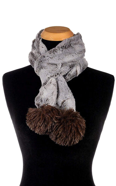 Pandemonium Millinery Pom Pom Scarf - Luxury Faux Fur in Giant's Causeway Giant's Causeway - Solid W/ Chocolate Poms Scarves