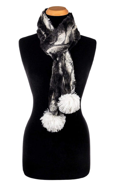 Pandemonium Millinery Pom Pom Scarf - Luxury Faux Fur in Honey Badger Honey Badger - Solid W/ Sand Poms Scarves