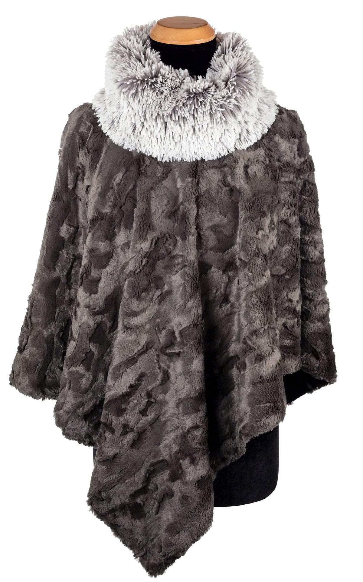 Poncho - Cuddly Faux Fur in Gray with Fox Collar (Only One with Fox Collar Left for Season!)