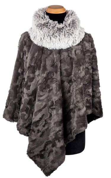 Pandemonium Millinery Poncho - Cuddly Faux Fur in Gray with Fox Collar Pearl Fox Outerwear