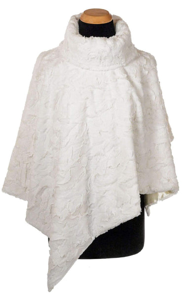 Pandemonium Millinery Poncho - Cuddly Faux Fur in Ivory IVORY / Black Satin Outerwear
