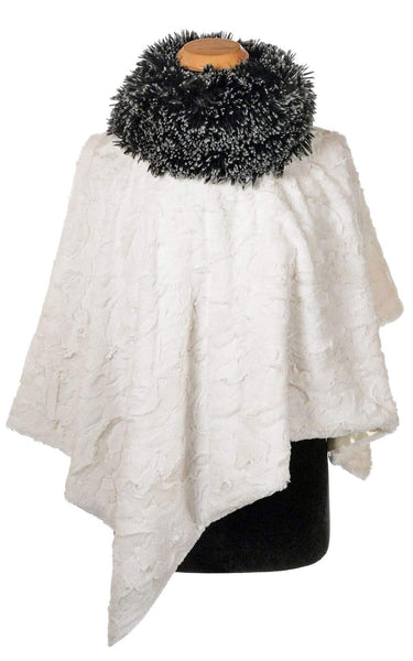 Pandemonium Millinery Poncho - Cuddly Faux Fur in Ivory with Fox Collar Silver Tipped Fox in Black Outerwear