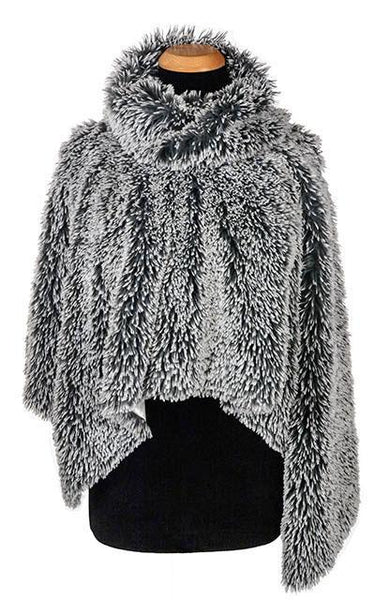 Poncho - Luxury Faux Fur in Silver Tipped Fox Faux Fur Blue Steel Silver Tipped Fox Faux Fur Blue Steel / Ivory Outerwear Pandemonium Millinery