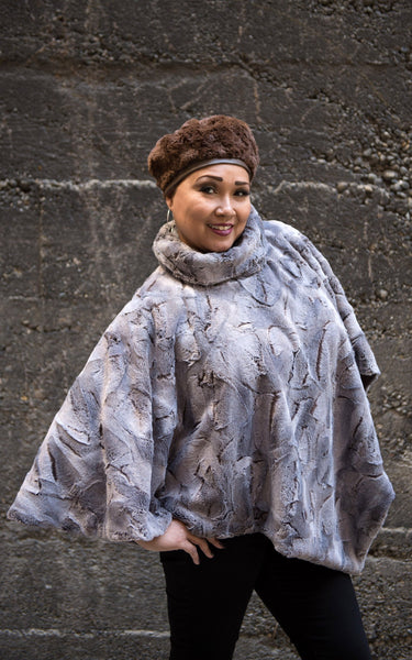 Poncho - Luxury Faux Fur in Giant's Causeway Giant's Causeway / Chocolate Outerwear Pandemonium Millinery