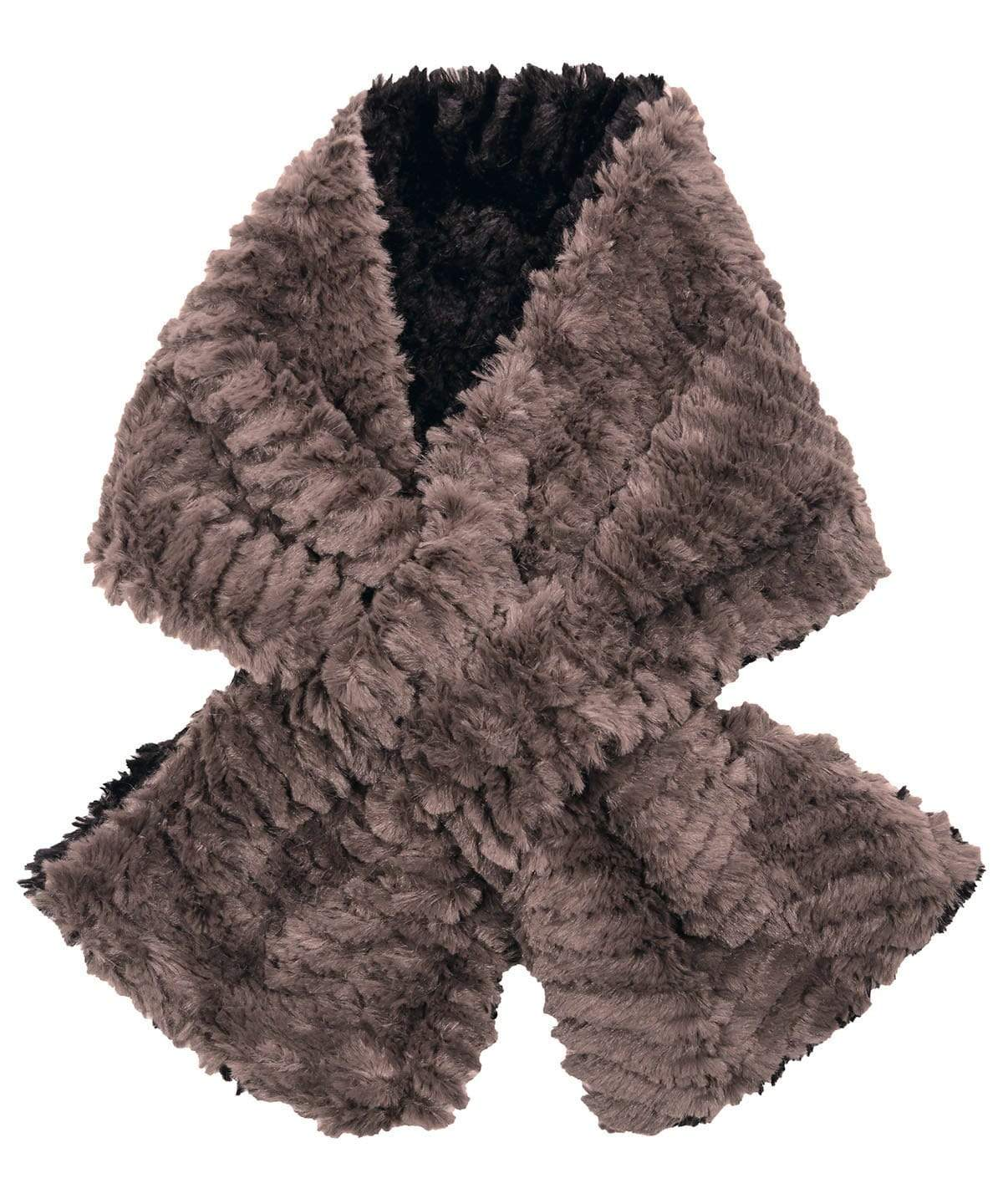 Pull-Thru Scarf - Chevron Faux Fur in Gray and Black