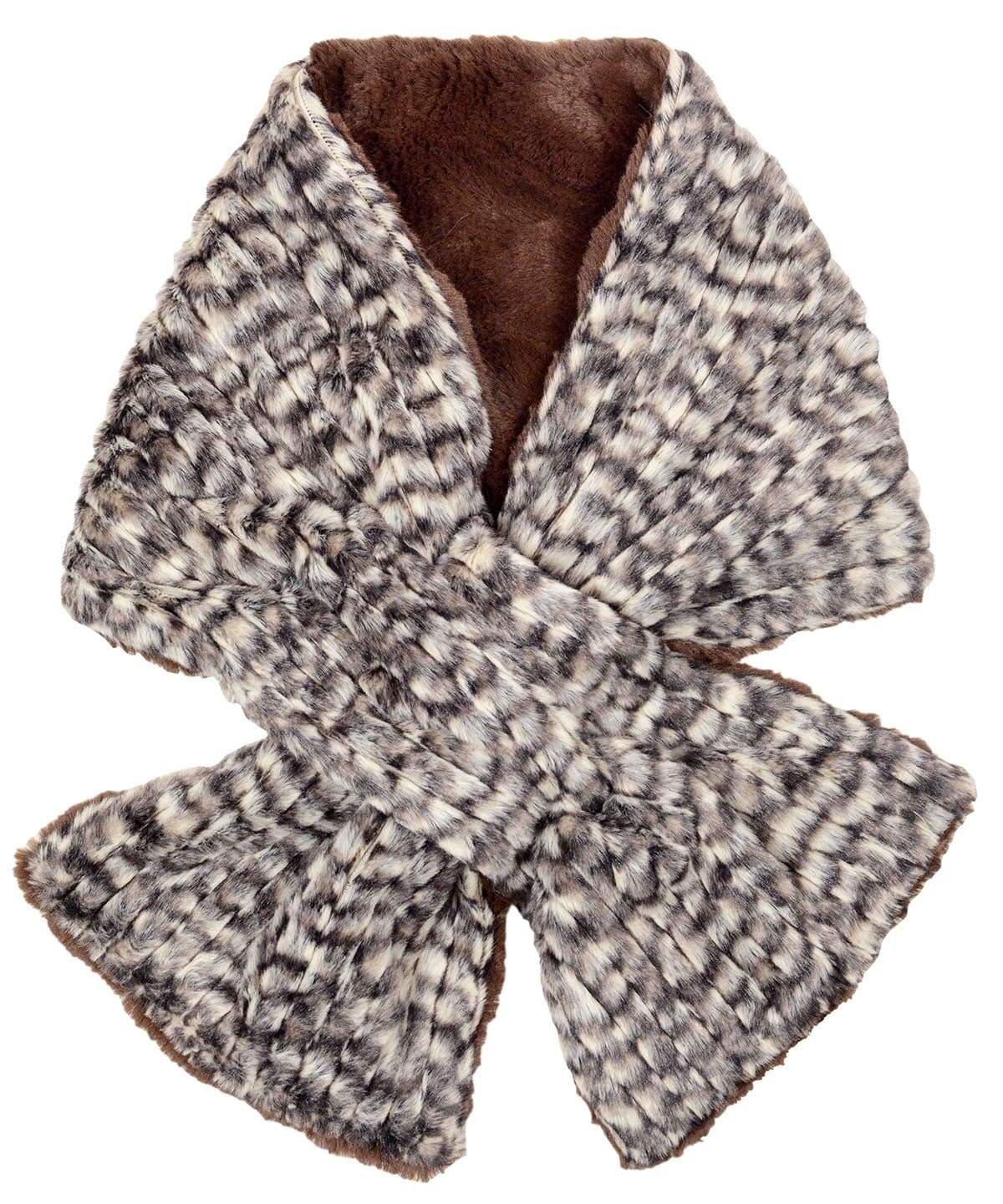 Pull-Thru Scarf - Cobblestone in Brown/Cream Faux Fur (Only One with Chocolate Left!)