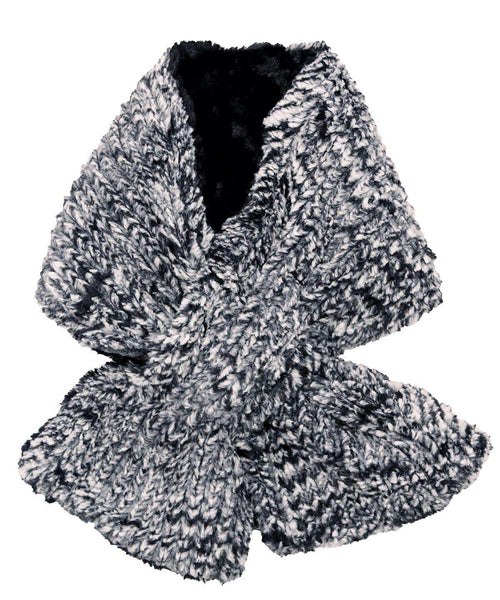 Pandemonium Millinery Pull-Thru Scarf - Cozy Cable Faux Fur Cozy Cable / Cuddly Black Scarves