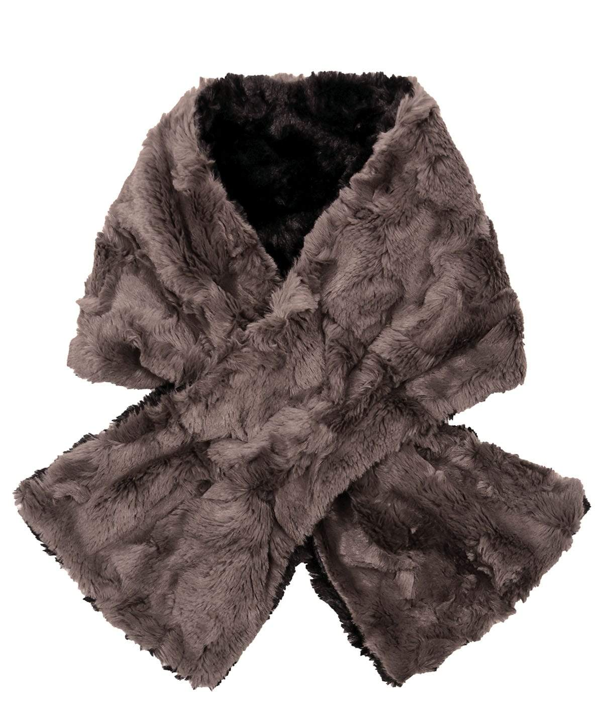 Pull-Thru Scarf - Cuddly Faux Fur in Gray
