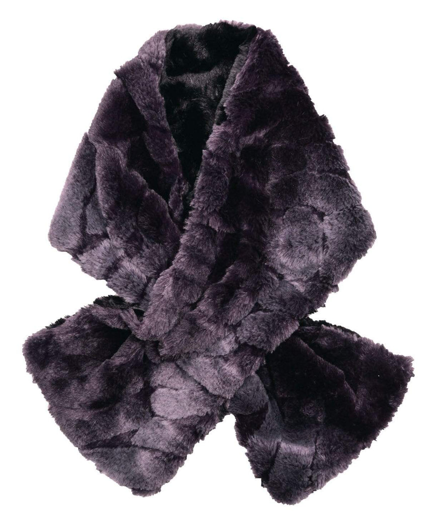 Pandemonium Millinery Pull-Thru Scarf - Luxury Faux Fur in Dream (EBONY - TWO LEFT!) Aubergine Dream / Cuddly Black Scarves