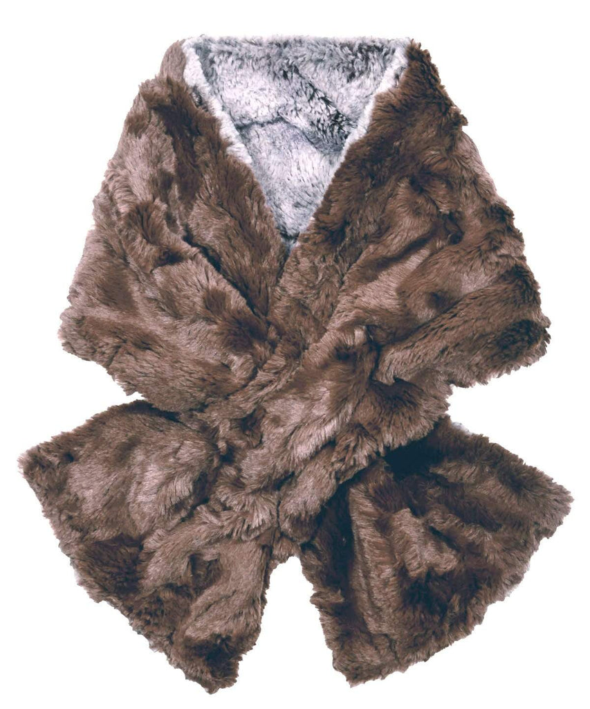 Pandemonium Millinery Pull-Thru Scarf - Luxury Faux Fur in Giant's Causeway Giant's Causeway / Chocolate Scarves